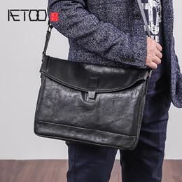 4803430c4f351 AETOO Einzelne Umhängetasche männlich Leder Trend Mode horizontale  Briefträger Baotou Schicht Rindsleder casual Männer schräg Cross Tasche