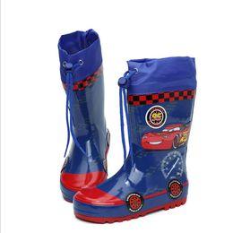 Scarpe da scuola blu online-Ciabatte da pioggia in gomma per bambini alla moda Cartoni da pioggia antiscivolo per bambini Scarpe da scuola blu per bambini Scarpe da ginnastica per bambini