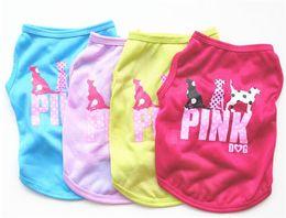 Vestes de chien mignon en Ligne-Belle lettre rose Pet Dog Gilet Vêtements Chiot Pull Mignon D'été Chemise Manteau Veste G459
