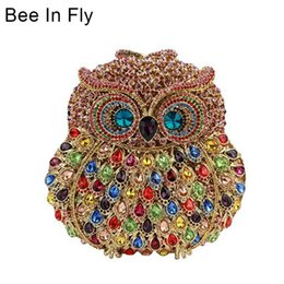 garras de búho Rebajas Bee In Fly Owl Mujeres Embrague Noche Bolso de Fiesta Cristales Embragues Monederos de Boda Señoras Ahueca Hacia Fuera Bolsos Bolsas