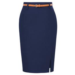 Kk Work Wear Faldas Lápiz Para Mujer Color Sólido Fajas de Cinturón Decorado Hip Wrap Bodycon Falda Sexy Elegante Elegante Oficina Faldas J190427 desde fabricantes