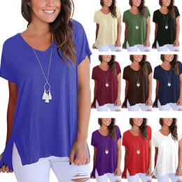 4b6689752b095 Short Sleeve Loose Tops Front Short Back Long Irregular Split V Neck Women  Clothing Plus Size Natural Colar Ladies T Shirt