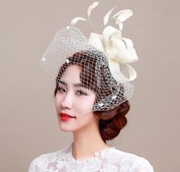 2019 copricapo da cerimonia nuziale Elegante Lady Party Hat da sposa da donna da donna Velo Cap Mesh Mini Hat Occasion Hair Headdress Decoration copricapo da cerimonia nuziale economici
