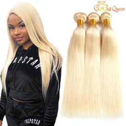 cabelo humano da onda profunda francesa Desconto 613 Loira Peruano Em Linha Reta Cabelo Weave 3 Bundles Peruano Virgem Cabelo Liso 613 Extensões de Cabelo Humano Gagaqueen