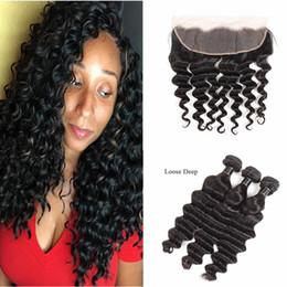 lula cabello humano Rebajas Lace Frontal Closure With 3 Bundles Peruvian Loose Deep Virgin Human Hair 3 Bundles With Lace Frontal 4Pcs Lot Loose Deep Hair Wefts