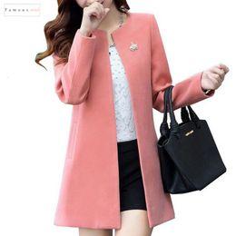 2019 casaco de lã xxl Mulheres casacos de lã Mistura Rodada Moda Neck manga comprida S Cardigan Xxl cor sólida Casaco Feminino Autumn slim Casacos casaco de lã xxl barato