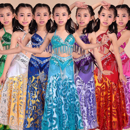 69188f826b Bellydance Costume Set Kids Bollywood Clothes Sexy Beaded Bra Skirts Girls  Oriental Stage Show Performance Dancewear DNV10907