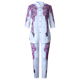 0ba5362195e8 Africa Abbigliamento Completo Per Donna Imposta New African Print Elastico Bazin  Pantaloni larghi Rock Style Dashiki Sleeve Famous Suit For Lady nuovi ...