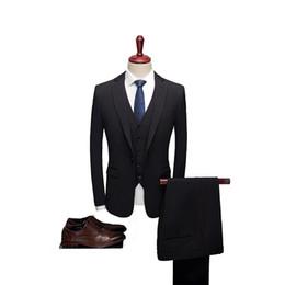 2020 esmoquin negro solo botón Negro de alta calidad para hombre trajes de boda de un botón trajes formales 3 piezas novio de la boda esmoquin de baile de fin de curso Slim Fit de un solo pecho esmoquin negro solo botón baratos