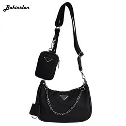 Unterarm-umhängetasche online-Bokinslon Nylon Canvas Handtasche Art und Weise weibliche Achsel Umhängetasche Siagonal Bag Messenger beiläufige Frauen
