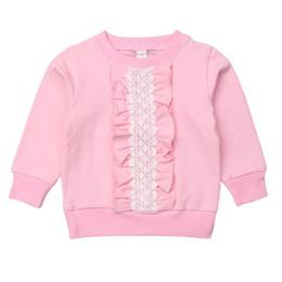 2019 blusa de encaje niña niño Kid Girls Blusas de color rosa sólido Suéter de cuello redondo con volantes Encaje Bebé Kid Girl Ropa Niño Primavera Otoño Ropa para niños blusa de encaje niña niño baratos