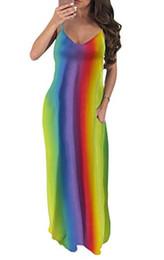 Vestido más grande del arco iris online-Voghtic Rainbow Maxi vestido correa de espagueti sin mangas con cuello en V vestido largo suelto con bolsillo para las mujeres más el tamaño S-XXL