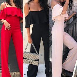 2019 bretelle donna xl Pagliaccetti delle donne di estate Pagliaccetti con le bretelle del progettista di lunghezza totale di un pezzo di colore solido Tuta sexy casuale per le donne bretelle donna xl economici