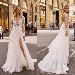 vestido de casamento da princesa grega Desconto 2020 Berta Wedding Dresses V Neck Appliqued mangas compridas lombar Lace Vestido de Noiva Backless alta Dividir Ruffle Varrer Train Robes De Mariée