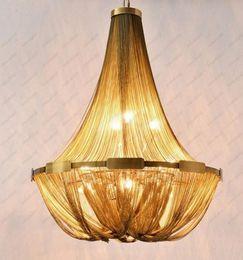2019 luz de teto pendente cool LEVOU Bronze Ouro Corrente de Alumínio Tassel de Aço Inoxidável Luzes de Teto Luminária Luminária Luzes Pingente Com Cool White Lâmpadas LED Lâmpadas luz de teto pendente cool barato