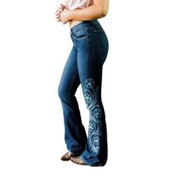 Pantaloni ricamati da donna online-Nuovi jeans delle donne del progettista di arrivo del progettista di modo di alta qualità Jeans imbottiti della campana delle donne dei jeans ricamati