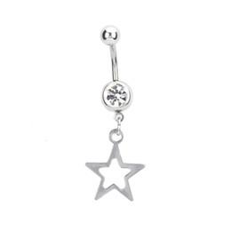 bretelles noires Promotion Nouveau bagues de nombril barre acier piercing Sexy Body Jewelry femmes creux cinq étoiles pendentif