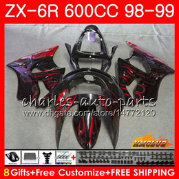 Обтекатель для красного ниндзя kawasaki zx6r онлайн-Корпус Для KAWASAKI NINJA ZX-6R 6 R ZX-636 ZX600 CC 98-99 Капот 39HC.241 600CC ZX636 ZX6R 98 99 ZX 636 ZX 6R красное пламя 1998 1999 Обтекатель