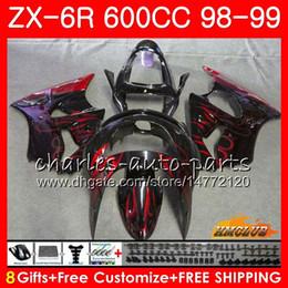 Carenado para kawasaki ninja rojo zx6r online-Cuerpo para KAWASAKI NINJA ZX-6R 6 R ZX-636 ZX600 CC 98-99 Capucha 39HC.241 600CC ZX636 ZX6R 98 99 ZX 636 ZX 6R llamas rojas 1998 1999 Carenado