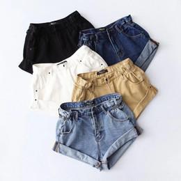 Mulheres elásticas das calças de brim on-line-Calças de Brim Das Mulheres Denim Shorts Mulheres Rolar Perna Larga Calças de Verão Das Mulheres Cintura Elástica Cuffs Cintura Alta Jeans 2019 Tamanho Asiático