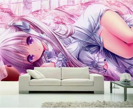 smoking girl painting Promo Codes - custom size 3d photo wallpaper living room mural kids cartoon Japanese girl picture painting sofa TV background wallpaper non-woven sticker