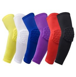 purple elbow Promo Codes - Lycra Honeycomb Basketball Long Elbow Pads Extended Bumper Elastic Basketball Arm Sports Safety Professional Outdoor Sports Protective Gear