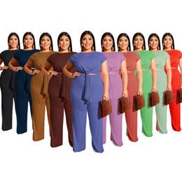 2019 camiseta mujer multi color 2019 Mujeres Dos pantalones piezas Plus Tamaño pantalones camiseta holgada traje pantalón de verano juego del ocio puro del color de las mujeres pantalones rectos de los cultivos principales rebajas camiseta mujer multi color