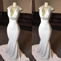 silk long evening dress Promo Codes - Elegant White Deep V-Neck Sleeveless 2019 Sexy Prom Dress Crystal Long Plus Size Evening Gown Cocktail Party Wear Celebrity Formal Maxi Gown