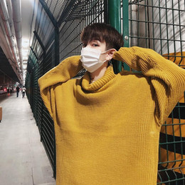 Pop 2019 Incroyable Automne Et D'hiver De Style Hong Kong Chandail De Couleur Unie Pull Lâche Pull Hommes Jaune / Noir / Vin Rouge M-XL ? partir de fabricateur
