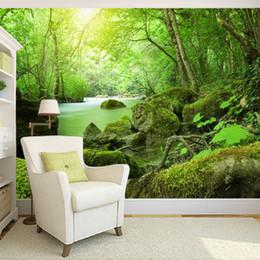 2020 каменная фотография Пользовательские 3D фото обои Лесные Камни Зеленый пейзаж Фото Фон Фон Современные обои для стен Living Room скидка каменная фотография