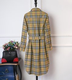 2019 livre vestido fazendo padrões Vestidos de Underbutton Mid-longo Checkered novo clássico das mulheres Vestidos em 2019