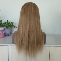 Бразильские нестандартные парики онлайн-Оптовые бразильские девственные волосы шелковые прямые медовые светлые цвета 16-дюймовый парик шнурка волос на заказ делают красивые кружевные парики для женщин