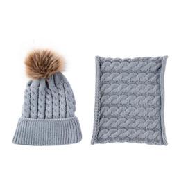 Pelliccia di inverno del bambino online-5 colori Baby Cap Scarf Set Toddler Inverno caldo pelliccia cappelli di palla O anello sciarpe per bambini a maglia berretti sciarpa collo set CCA10883 50 set