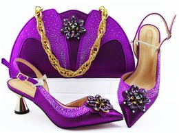 wedges bag set Promo Codes - Fashion purple women pumps match handbag set with crystal flower style african shoes and bag for dress MM1085,heel 7CM