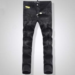 Hombres bordados Cráneo Jeans cortos Hombre Skinny Slim Denim Pantalones Moda Casual jeans largos desde fabricantes