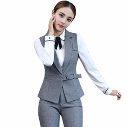 239fa4870b New 2018 2 Piece Set Elegant Pant Suit Size S-4xl Waistcoat Belt Gray Vest Women  Sleeveless Jacket Blazer Office Lady Work Wear Q190415