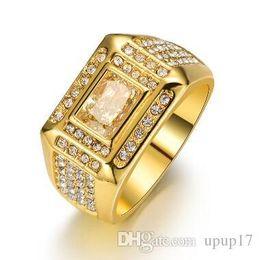 Nem Fashion Hot Overbearing européen et américain Wide Edition Artificial Hand Ring incrusté Zircon hommes alliage d'or Drop Shipping ? partir de fabricateur