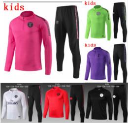 Vestes garçons jersey en Ligne-Ensemble d'entraînement de maillots de football du Real Madrid pour les enfants DI MARIA CAVANI Paris 18 18 20 survêtement