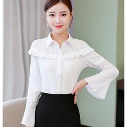 blusa de camada dupla Desconto Longo Flare Manga Na Moda Blusa Branca Mulheres Primavera Túnica Camisa Senhora Do Escritório Blusas de Trabalho Elegante Dupla Camada Frente Ruffle Coreano
