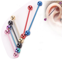 50pcs / lot dell'orecchio acciaio inossidabile del commercio all'ingrosso di colore della miscela penetrante con bilanciere industriale falsi calibri piercing all'orecchio trago cartilagine orecchino L18101306 da