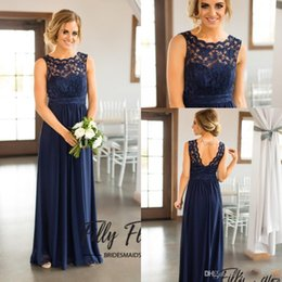 Stili di abbigliamento per gravidanza online-Country Style Navy Blue Scoop Bridesmaid Dresses Cheap 2019 Beach Beach CHiffon Wrinkles Lace Sheer Long Pregnant Maid of Honor Gowns BA9979