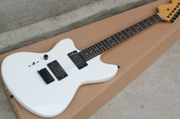 gitarre linkshändig Rabatt Großhandel Fabrik 22 Bünde weißen Körper Linkshänder E-Gitarre mit Palisander Griffbrett, schwarze Hardware, 2 Pickups, kann angepasst werden