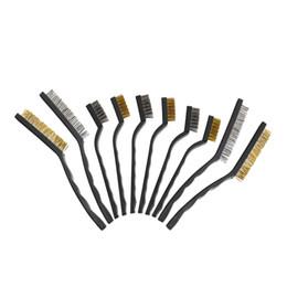 2019 spazzola di saldatura Wire Brush Set Scratch Brush Set per la pulizia scorie di saldatura ruggine e polvere manico ricurvo in acciaio inox e ottone 10-Pack spazzola di saldatura economici