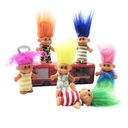 Wholesale Cheveux Colorés Trolls Poupée Rétro Enfant Indien Jouets Figure Poupée Ouvre bouteille Aimant Petits Outils Cadeau