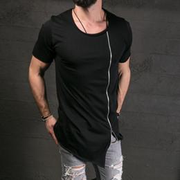 Grande show camiseta on-line-2019 camisa de algodão T Homens Fashion Show Elegante longo T assimétrico Side Zipper Big Neck manga curta T-shirt masculino Hip Hop Tee atacado