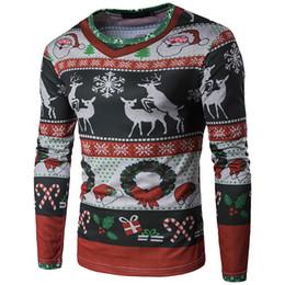 Ropa de navidad Camiseta 3D Impresión Personalizada de Moda de Los Hombres de Navidad Elk Patrón de Manga Larga Camiseta Camisa de Vestir de Navidad desde fabricantes