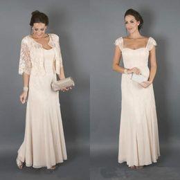 2019 mãe chá de noiva vestido de comprimento verão Champagne elegante mãe dos vestidos de noiva com jaqueta de madrinha formal mulheres usam noite convidados do casamento vestido Plus Size