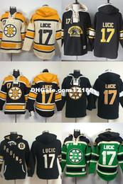 2019 logo milan Heißer Verkauf Mens Boston Bruins 17 Milan Lucic Beige Schwarz Grün Genäht Beste Qualität Günstige Stickerei Logo Eishockey Hoodies rabatt logo milan
