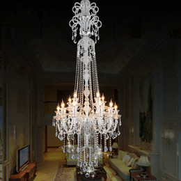 candle light fixture chandelier Coupons - large stair luxury crystal chandelier Fashion staircase chandeliers long K9 crystal Ceiling lamp Hotel Villa candle lighting fixture