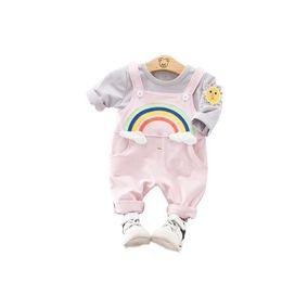 497e78fb99c9a 2019 New Spring Children Clothing Sets Baby Girls Boy Clothes Suits Cotton  Rainbow T Shirt Bib Pants Toddler Infant Kids Costume